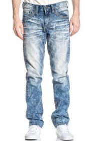 Affliction Gage White Fleur Flap Pocket Rocker Moto Biker Mens Slim Straight Denim Jeans in Light Blue Fender Vintage Wash - SIZES 30-42