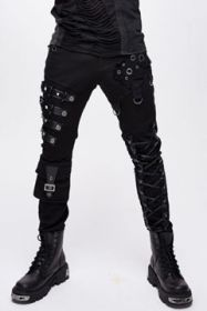 Devil Fashion Rock Goth Moto Straps Metal Studs Grommets Lace Up Ties Cargo Pocket Mens Stretch Skinny Jeans Pants in Black - SIZES S-XL W28-38