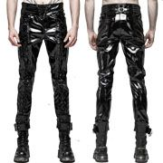 Punk Rave Goth Moto Metal Grommets Lace Up Ties Shiny Glossy Mens Patent Leather Skinny Jeans Pants in Black - SIZES M-L W30-34