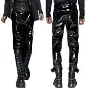 Punk Rave Goth Moto Metal Skull Button Buckle Military Straps Shiny Glossy Mens Patent Leather Skinny Jeans Pants in Black - SIZES S-XXL W28-38