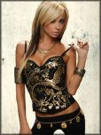 Kimikal Crystal Rhinestone Birds Flowers Hook Eye Back Removable Straps Womens Corset Bustier Top in Black & Gold Foil - SIZES 38B & 38C LEFT