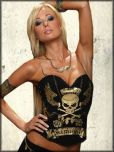 Kimikal Winged Skull Rhinestone Removable Straps Womens Corset Bustier Top in Black Gold - As Worn By Daisy De La Hoya on Daisy Of Love - SIZE 38B LEFT