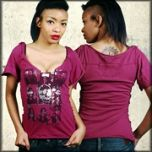 Kill City Shes A Killer Faces Skulls Silver Foil Womens Short Sleeve Lowcut Scoop Neck  T-Shirt in Fuchsia Pink