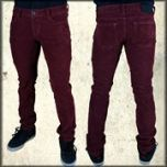 Kill City Stretch Mod Corduroy Mens Straight Fit Jeans in Wine Red