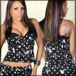 Lip Service Paint Splatter White Polka Dots Print Padded Underwire Womens Push Up Bustier Top in Black - UP TO SIZE XL