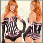Trashy Lingerie Carousel Burlesque A-List Celebrity Designer Hand Made USA High Quality Womens Ruffle Stretch Corset Top in Black & Light Pink