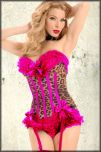 Trashy Lingerie Carousel Burlesque A-List Celebrity Designer Hand Made USA Womens Ruffle Stretch Corset Top in Leopard & Hot Pink Trim - SIZE SMALL LEFT