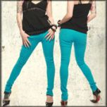 Lip Service Skull Dagger Embroidered Back Pocket Rock-N-Roll Womens Stretch Skinny Jeans in Aqua Blue - ONLY SIZES 25 & 26 LEFT