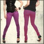 Lip Service Skull Dagger Embroidered Back Pocket Rock-N-Roll Womens Stretch Skinny Jeans in Purple