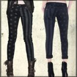 Kill City Patriot American Flag Stars Stripes Leather Look Wax Coated Womens Skinny Junkie Fit Jeans in Black