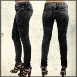 Kill City Rock Out Wire Fit Womens Stretch Skinny Jeans in Black Heavy Mineral Acid Wash