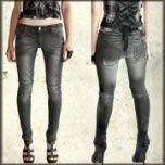 Lip Service Moto Rocker Biker Knee Patch Stitching Zippers Distressed Wash Womens Stretch Skinny Jeans in Vintage Grey