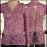 LA Rockers Zebra Animal Print Burnout Rhinestone Studded Braided Open Back Womens Long Sleeve V-Neck Shirt in Purple