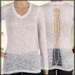 LA Rockers Zebra Animal Print Burnout Rhinestone Studded Braided Open Back Womens Long Sleeve V-Neck Shirt in White