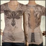 LA Rockers Divine Cross Angel Wings Rhinestones Braided Open Back Womens Long Sleeve V-Neck Shirt in Tan