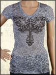 LA Rockers Divine Cross Angel Wings Rhinestones Burnout Zebra Print Braided Open Back Womens Short Sleeve V-Neck Shirt in Powder Blue