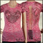 LA Rockers Lily Fleur Angel Wings Rhinestones Burnout Zebra Print Braided Open Back Womens Short Sleeve V-Neck Shirt in Fuchsia Pink