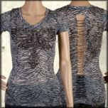 LA Rockers Divine Cross Angel Wings Rhinestones Burnout Zebra Print Braided Open Back Womens Short Sleeve V-Neck Shirt in Dark Blue