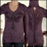 LA Rockers Divine Cross Angel Wings Rhinestones Braided Open Back Womens Long Sleeve V-Neck Hoodie Shirt in Purple