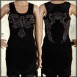 LA Rockers Heavenly Cross Angel Wings Rhinestones Grommet Corset Lacing Womens Tank Dress or Long Tunic Top in Black