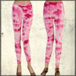 LA Rockers Crystal Tie Dye Stretch Womens Long Leggings in Fuchsia Pink Lightning Wash