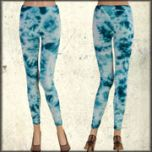 LA Rockers Crystal Tie Dye Stretch Womens Long Leggings in Turquoise Blue Lightning Wash
