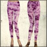LA Rockers Crystal Tie Dye Stretch Womens Long Leggings in Purple Lightning Wash