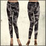 LA Rockers Crystal Tie Dye Stretch Womens Long Leggings in Black Lightning Wash