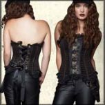 Lip Service Gun Holster Ornate Brocade Heavy Metal Hardware Steel Boning Bycast Leather Lace Up Back Womens Strapless Corset Top in Black and Tan