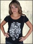 Parasuco Snake Rose Abstract Black White Genuine Leather Metal Studs Open Back Womens Short Sleeve Scoop Neck T-Shirt in Black - SIZE XL LEFT